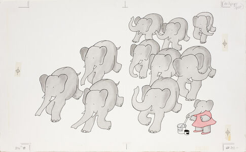 """""""Gray,"""" published illustration for Babar's Book of Color"""