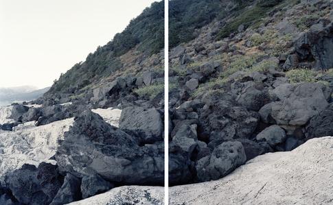 Basalt  ow on Limestone. Cala Gonone, Sardinia. (Diptych)