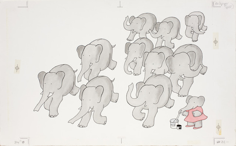 """Gray,"" published illustration for Babar's Book of Color"