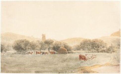 A Meadow with Cattle near Glastonbury
