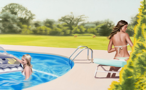 Two women at The Pool