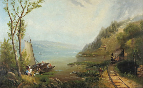 Pastoral Landscape with Locomotive and Picnic Goers