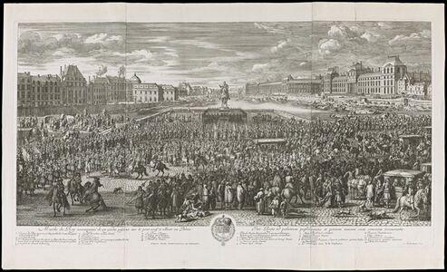 La marche du Roy accompagn' de ses gardes passant sur le pont neuf et allant au Palais