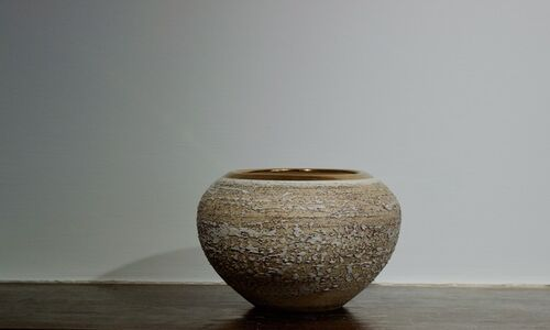 Textured Moon Jar with Copper Lustre