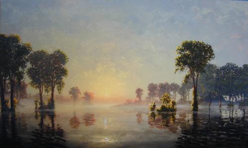 Flooded River:  Golden Light at Dawn, October, 2001