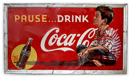 Boy on Vintage 1930's Coca-Cola Sign