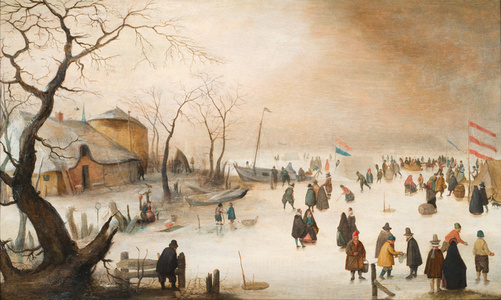 Winter landscape with city dwellers and ice skaters , Signed with the initials HA bottom left