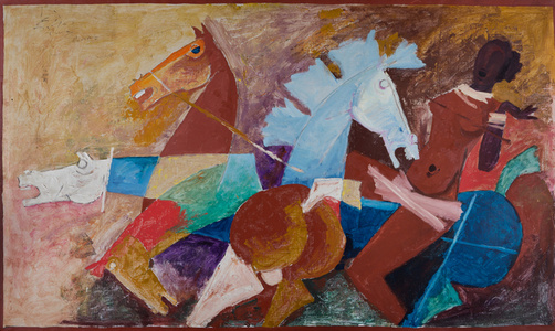 Woman and four horses