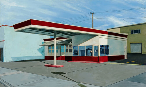 Red and White Gas Station
