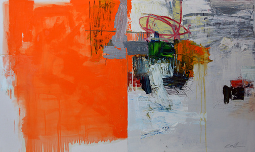 Abstract with Orange [diptych]