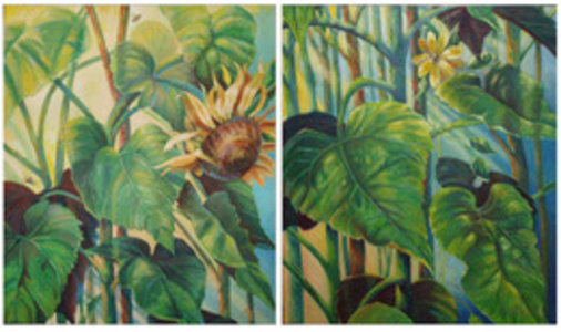 Sunflowers Diptych (dimensions and pricing provided are for both panels)