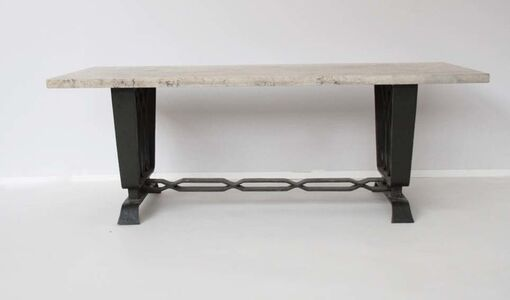 Wrought iron and travertine console-table