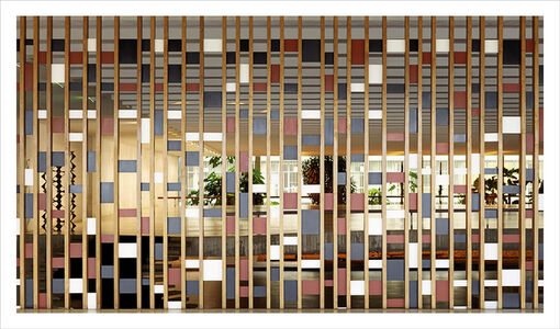 Brasilia | The Itamaraty Palace - Foreign Relations Ministry, wood and steel panel by Athos Bulcão