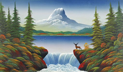 Untitled (Mountain lake with deer, waterfall and three birds)