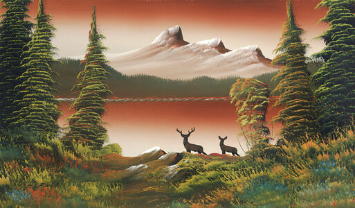 Untitled (Mountain lake with two deer)