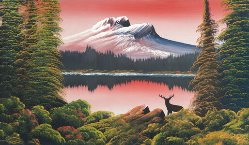 Untitled (Mountain lake with deer)