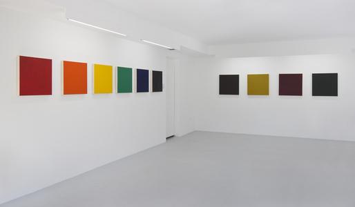 From the Inventory: Shade Paintings: Group 6: Scarlet Lake, Schevenengen Orange, Cadmium Yellow, Emerald Green, Ultramarine Blue,Dioxizine Purple