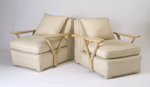 Rare Pair of Paddle Arm Chairs