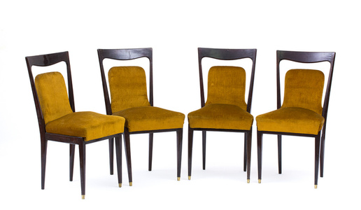 Series of four rush seat chairs with padded seat
