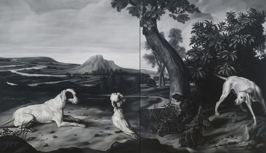 Hunting Dog, Hound and Cockatoo (after Desportes, Hillegaert and Weenix)