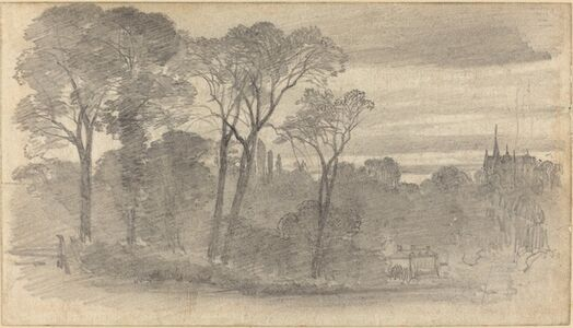 An Evening Landscape with a Distant Cathedral