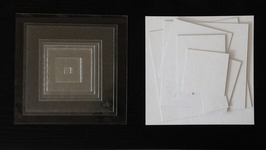 Untitled (9 Squares) 1801 Diptych - each 27cm x 27cm plexiglass and cardboard 2018