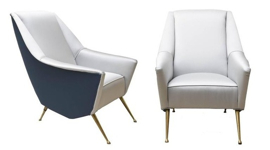 Pair of armchairs, upholstered in grey and blue silky cotton , brass feet