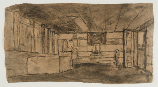 Untitled (interior with open door) verso: interior with one window