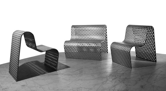 Perforated Metal Settee + Chairs