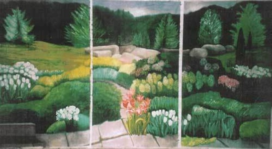 "Flowering Garden Triptych (dimensions provided are without frame, for the entire series. Each piece is 96"" x 50"")"
