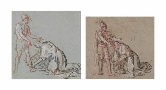 Studies of a woman kneeling at the feet of a soldier