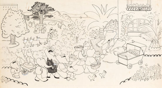Here are the babies, settled now in the garden and asleep in a big perambulator. Babar and Celeste receive the congratulations of their friends. Almost everyone brings a gift. Potifour, the farmer, and his wife bring fruits from their own orchard; the hens offer some eggs; the gardeners some flowers. The bakers present a cake, and Cornelius brings three silver rattles.
