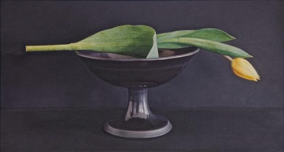 Yellow Tulip, Black Bowl