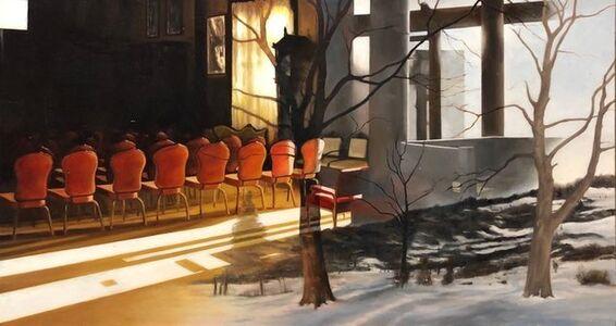 Red Interior, Oil Painting, Scene Through Window