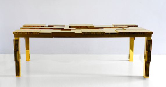 Rectangular Cuspide Low Table with Facets in 24k Gold