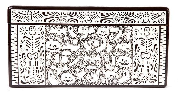 Caja Dia de Muertos Woodcarving Lacquer Mexican Folk Art