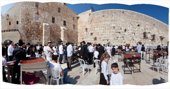 Men at the Western Wall, Jerusalem