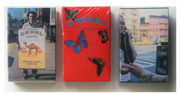 Set of 3 Camel Lights Limited-Edition Artist's Packs,  Damien Hirst, Nan Goldin, and Christopher Chiappa.