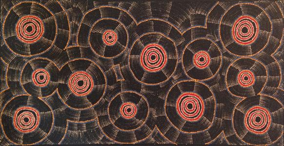 Debbie Napaljarri Brown: Wanakiji Jukurrpa (Bush-Tomato-Dreaming) #109-16ny