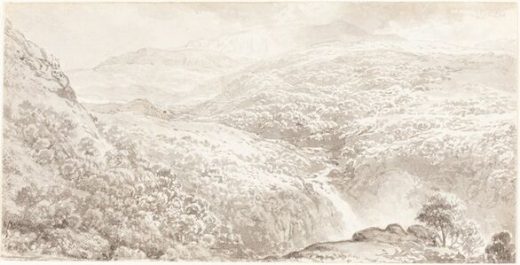 A Mountain Valley with a Waterfall