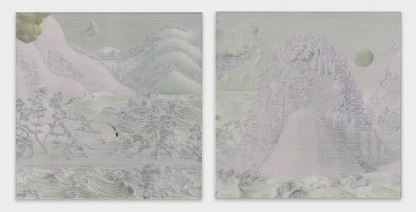 Sun Moon Lake Sansui Figure Folding Screen (16-1)