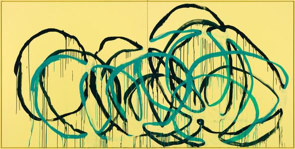 Was bleibt? (türkis auf blau auf gelb) Miami