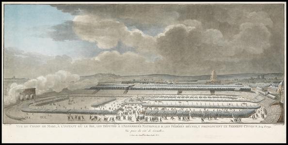 Vue du Champ de Mars, … l'instant o— le Roi, les d'put's … l'Assembl'e nationale and les f'd'r's r'unis, y prononcent le serment civique, le 14 j.et 1790