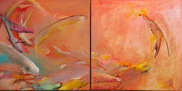 Pink Fish Diptych