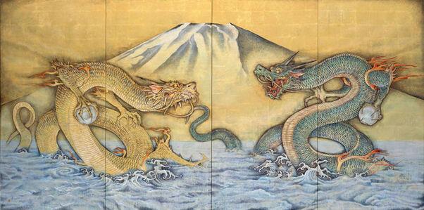 Fuji with A-un (Alpha and Omega) dragons