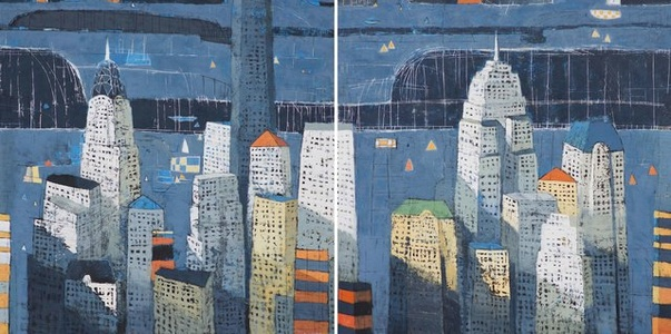 Under a Blue Night (Diptych)