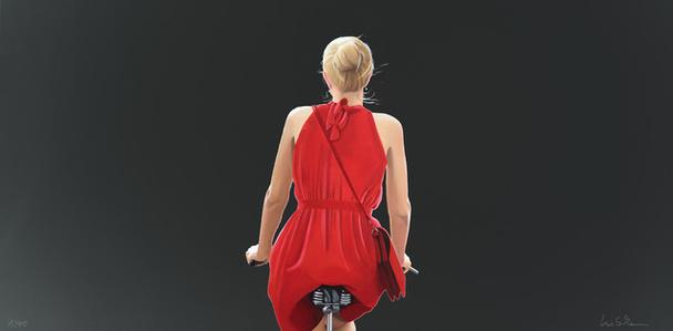 o.T. (Radfahrerin in rotem Kleid, Schwarz)