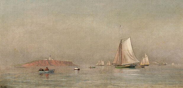 Quiet Coastal View with Schooners and Lighthouse