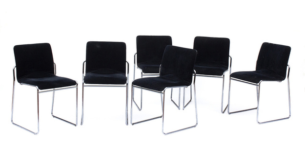 Six chairs in steel rod