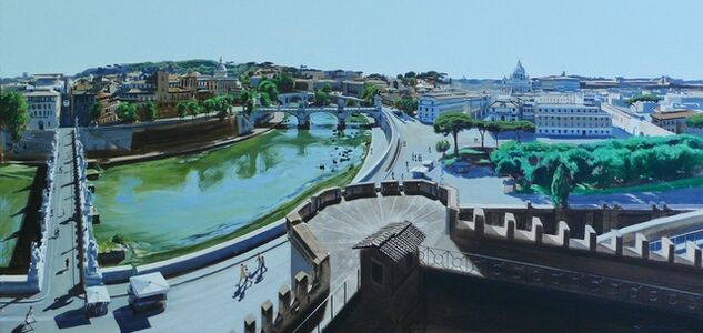 Study: Tiberis Quo Vardis (View From Castle St Angelo Overlooking the River Tiber Rome)